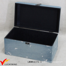 Blue Small Vintage Used Wooden Boxes with Lid
