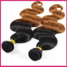 Meilleure vente Ombre foncé racine noir à brun Brésilien vierge cheveux humains armure corps vague cheveux extensions