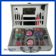 Silver Striped ABS Makeup Briefcase for Makeup Kit (SACMC074)