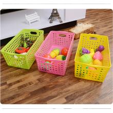 Misceláneas ecológicas de almacenamiento al por mayor de color claro cesta de plástico con mango