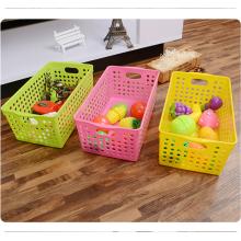 Articles de stockage en gros qui respecte l'environnement claire couleur panier en plastique avec poignée
