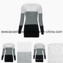 Mulheres em torno do pescoço de manga comprida Tri-Colors Top Grade Camisola de Cashmere Pure