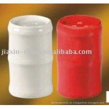 conjunto de sal y pimienta de porcelana color blanco y rojo JX-80A