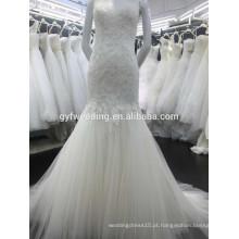 Latest Dress Design Mermaid Tulle Skirt Vestidos de noiva sem mangas Open Back Lace Alibaba China Vestidos de casamento 2015 15017-4