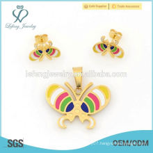 Fashion stainless steel gold butterfly locket & earring jewelry set 2015