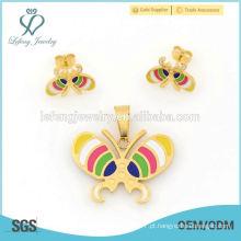 Moda de aço inoxidável ouro borboleta locket jóias brinco e definir 2015