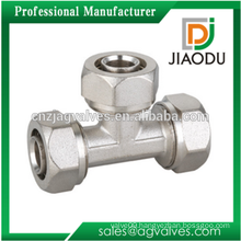 Brass Forged Equal Tee Compression Fittings For PEX-AL-PEX Pipe