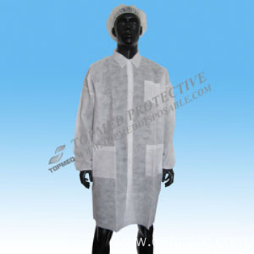 Disposable Nonwoven Lab Coat with Hook & Loop and Pocket