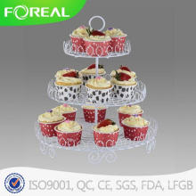 Metal Wire White Coating 3-Tiers Birthday Dessert Plate