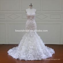 XF16066 se encaixam e flare estilos de vestido de noiva de sereia com vestido de noiva de renda de flor 3D especial 2017