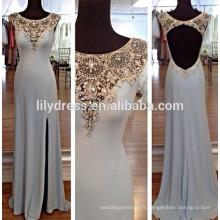 Manche à capuchon Beading Back Hole Side Slit Custom Made Longueur de longueur Designs Long Evening Party Wear ED116 robe de soirée orientale