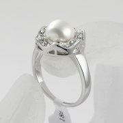 Fashion accessories sparkling alloy finger ring luxurious pearl clear rhinestone ring female