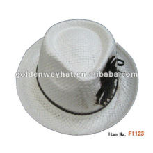 fashion polyester mini cream colored fedora hat for man
