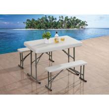 Mesa plástica de banco de mesa dobrável