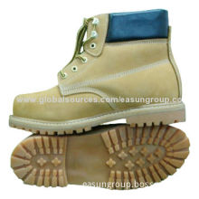 Goodyear technique leather safety shoes, steel toe, rubber outsole