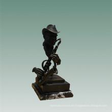 Bustos Latón Estatua Saxofonista Decoración Bronce Escultura Tpy-756
