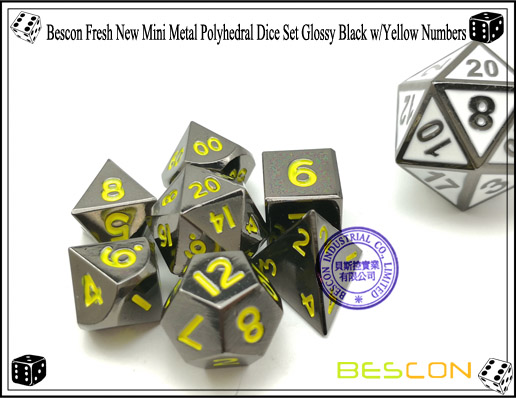 Bescon Fresh New Mini Metal Polyhedral Dice Set Glossy Black with Yellow Numbers-5