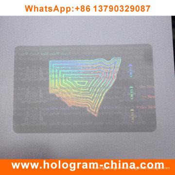 Holograma de superposición de tarjeta de identificación de PVC transparente personalizado