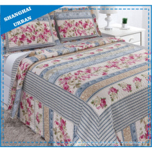 Vintage Country Floral Printed Polyester Quilt Set