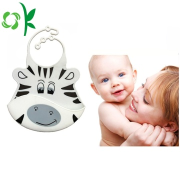 Kreativ design Lovely Animal Printed Silicone Baby Bib