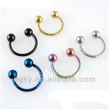 Anodised Titanium Horseshoe barbell rings, horseshoe nose ring