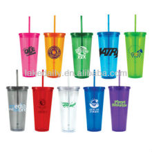 LAKE colorful double wall plastic cup with lid and straw