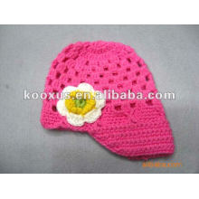 Baby Infant Toddler Hand Crochet Beanie Hat with Daisy Flower Clip