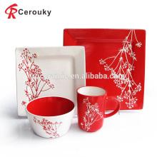 China fabricante blanco y rojo color esmalte cuadrados cerámica vajilla conjunto