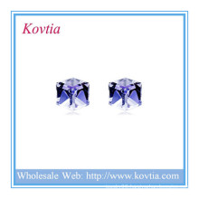 HOT SALE small hexagon crystal 925 sterling silver stud earring
