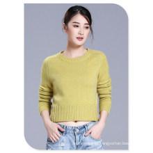 Suéter Slim Fit para mujer Jersey corto Pure Cashmere Top con cuello redondo y manga larga