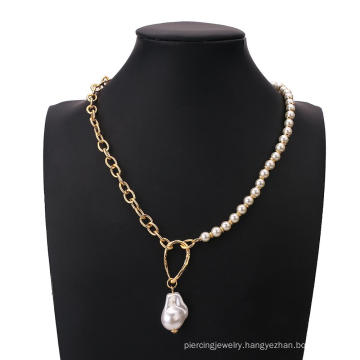 Vintage Baroque Irregular Pearl Link Chains Necklace Women 2020 Geometric Pendant Metal Necklaces for Women Punk Jewelry Gift