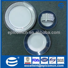 16pcs round royal silver high quality classic ceramic dinnerware made in china