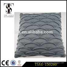 Escala de peixe cinzento atacado decorativo almofada travesseiro tricô fios coberturas para travesseiro