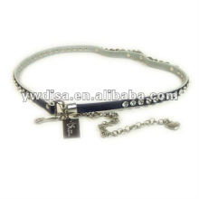Rhinestone And Chain Genuine Leather Belt