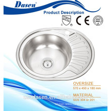 DS 5745 single bowl round sink with drainboard glass sink stainless basin triangle sink