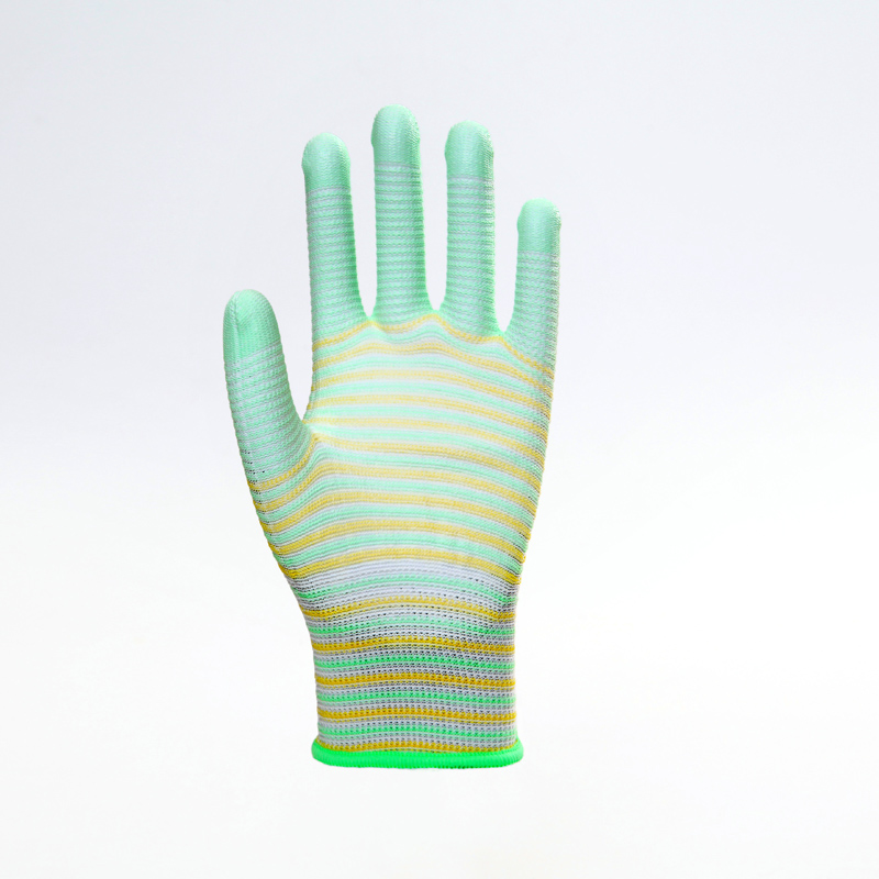 Striped Polyester PU Gloves
