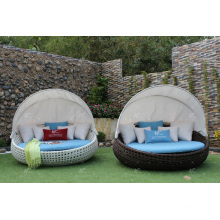 Poly Rattan Round Sun Lounger With Canopy For Outdoor Garden