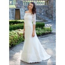NA1016 Fabulous A-line Schaufel Sweep Zug Appliqued Lace neuesten Kleid Design lange Ärmel Spitze Brautkleid