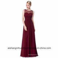 Long Chiffon Bridesmaid Dress A-Line Sleeveless Wedding Bridesmaid Dresses