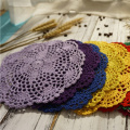 Round lace table place mat pad cotton crochet felt placemat cup mug holder handmade coaster