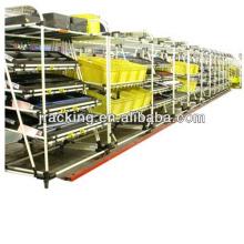 Estantes ajustables de acero del estante de almacenamiento de la estantería, estantes de cristal industriales del estante del flujo del cartón de los engranajes