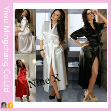 Hot Sale Europe and America Sexy Ice Silk Long Bathrobe