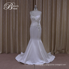 Shimmering Slim Empire Waist Wedding Dress Ruffled Satin