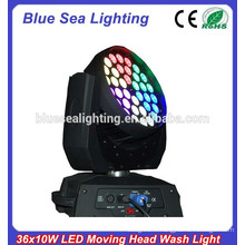 Hot selling RGBW mélange de couleurs 36pcs 10w zoom led lavage tête mobile