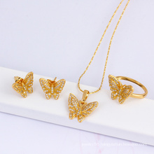 Christmas Gift Fashion Jewelry 18k Gold Plated Butterfly Jewelry Set (60823)