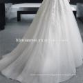 Couleur blanche manches longues conception mince ligne mince lacé mode gros seins robe de mariée