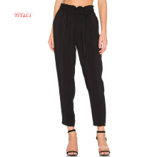 Side Slit Pocket Pleated Waist Self Tie Pants