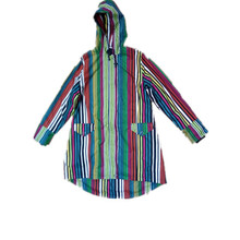 Contrast Stripe Hooded PVC Raincoat for Woman