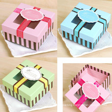 Square Paper Gift Box with Clear Window /Ribbon /Tag