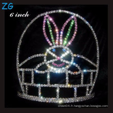 Colored Rabbit Pageant couronne Halloween Tiara For Kids, couronne en cristal de pâques